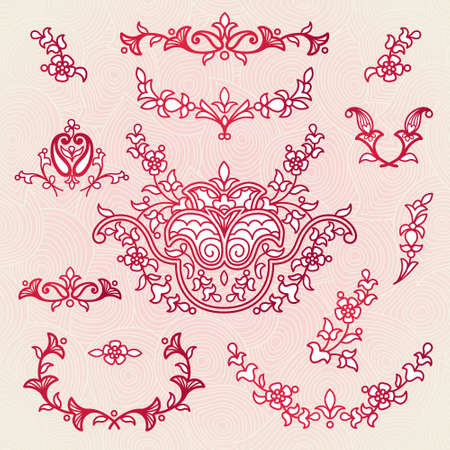 scroll work: Vector vintage vignettes in Eastern style on scroll work background. Ornate element for design. Place for text. Ornamental pattern for wedding invitations, greeting cards. Traditional outline decor.