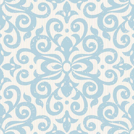 Vector seamless pattern with blue ornaments. Vintage element for design in Victorian style. Ornamental lace tracery. Ornate floral decor for wallpaper. Endless vintage texture. Light pattern fill. Vector