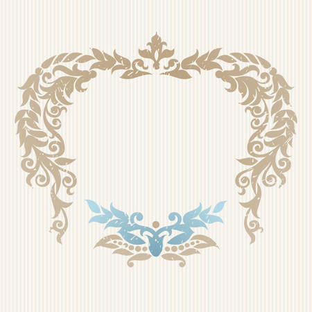 Vector ornate frame in Victorian style. Decorative element for design and place for text. Ornamental lace pattern for wedding invitations and greeting cards.Traditional decor on light background.