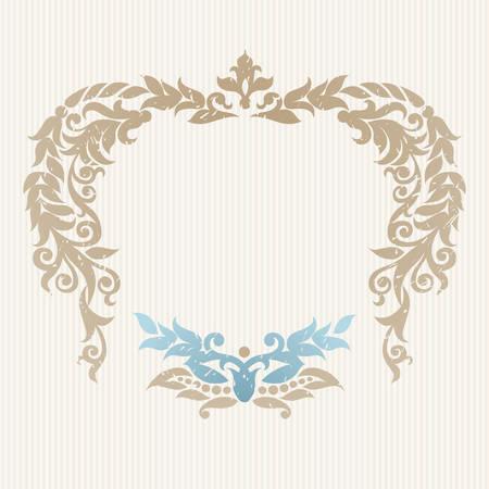 luxo: Vector quadro ornamentado em estilo vitoriano. elemento decorativo para o projeto e lugar para o texto. rendado ornamentais para convites de casamento e cumprimento decora Ilustração