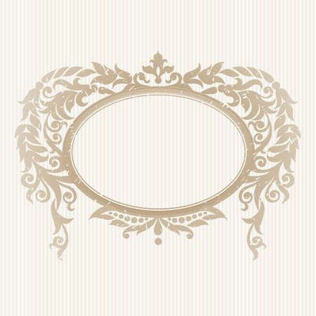 óvalo: Vector adornado marco en estilo victoriano. Elemento decorativo para el diseño y el lugar de texto. Patrón de encaje ornamental para las invitaciones de boda y saludo decoración cards.Traditional sobre fondo claro.