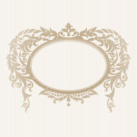 oval: Vector ornate frame in Victorian style. Decorative element for design and place for text. Ornamental lace pattern for wedding invitations and greeting cards.Traditional decor on light background.