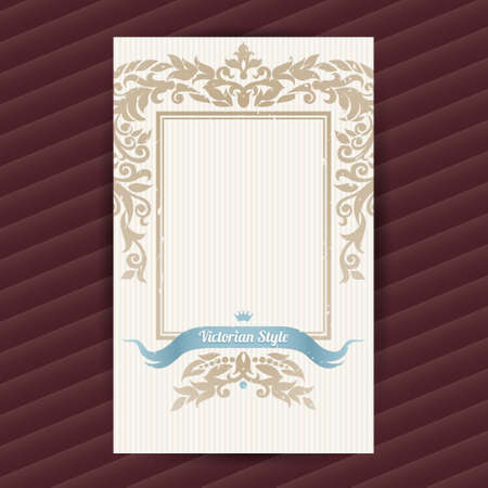vector greeting card: Vintage ornate card in Victorian style. Beige floral decor. Template ornamental frame for greeting card and wedding invitation. Filigree vector border and place for your text.