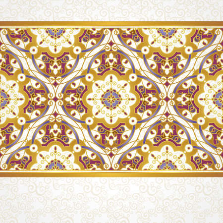 eastern religion: Vector seamless border in Eastern style. Ornate element for design and place for text. Ornamental lace pattern for wedding invitations and greeting cards.Traditional colorful decor on light background. Illustration