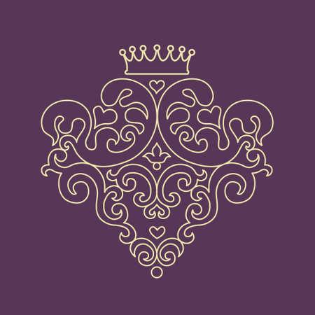 Decorative vector blazon for design template. Elegant element for logo design, place for text, line art floral pattern. Light outline monogram. Lace illustration for invitations, greeting cards.