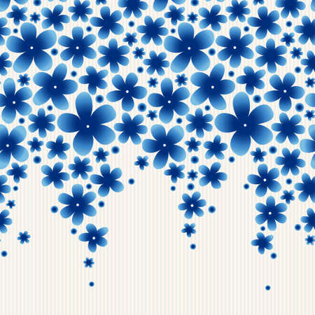 simple border: Bright floral border on light background. Spring garland with simple flowers. Blue vintage illustration. Decorative element for design, place for text. Lace pattern for invitations, greeting cards.
