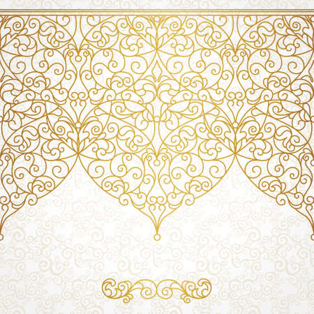Vector ornate seamless border in Eastern style. Line art element for design, place for text. Ornamental vintage frame for wedding invitations and greeting cards. Traditional gold decor. Ilustração