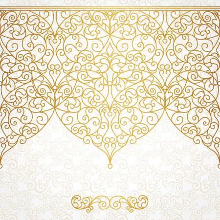 Vector verzierten nahtlose Grenze in Ost-Stil. Line art Element für Design, Platz für Text. Ornamental Vintage-Rahmen für Hochzeitseinladungen und Grußkarten. Traditionelle Golddekor. Standard-Bild - 40401095