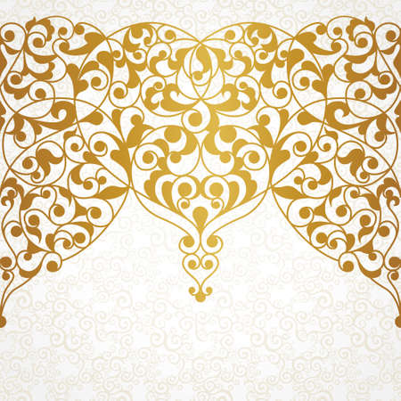 brocade: Vector ornate seamless border in Eastern style. Line art element for design, place for text. Ornamental vintage frame for wedding invitations and greeting cards. Traditional gold decor. Illustration
