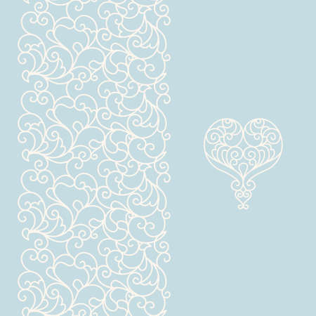 streckbilder: Vector ornate seamless border in Eastern style. Line art element for design, place for text. Ornamental vintage frame for wedding invitations and greeting cards. Traditional light blue decor.