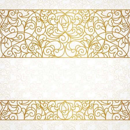 Vector adornado frontera transparente en estilo oriental. Línea arte elemento para el diseño, el lugar de texto. Marco vintage ornamental para las invitaciones de boda y tarjetas de felicitación. Decoración de oro tradicional.