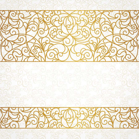 frieze: Vector ornate seamless border in Eastern style. Line art element for design, place for text. Ornamental vintage frame for wedding invitations and greeting cards. Traditional gold decor. Illustration