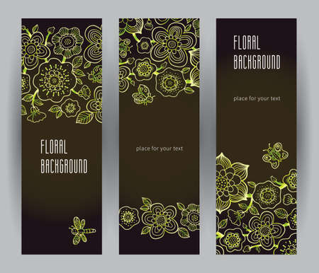 Vintage Floral Cards In Line Art Style Green Outline Decor