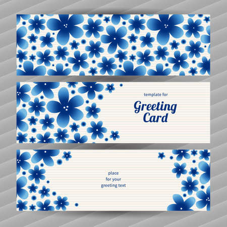 Bright floral card with simple flowers. Blue vintage illustration. Decorative element for design, place for text. Template frame for greeting card and wedding invitation. Vector