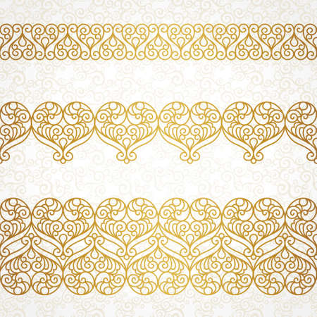 damask border: Ornate vector borders with hearts in line art style. Elegant element for design, place for text. Lace floral illustration for wedding invitations, greeting cards, Valentines cards. Outline frames.