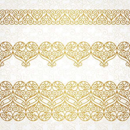friso: Vector adornado limita con el corazón en la línea estilo del arte. Elemento para el diseño elegante, el lugar de texto. Encaje Ilustración floral para las invitaciones de boda, tarjetas de felicitación, tarjetas de San Valentín. Marcos de contorno.