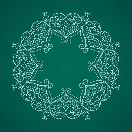 streckbilder: Vector decorative line art frame for design template. Elegant element for logo design, place for text. Light outline floral border. Lace illustration for invitations and greeting cards.