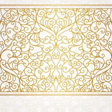 Vector ornate seamless border in Eastern style. Line art element for design, place for text. Ornamental vintage frame for wedding invitations and greeting cards. Traditional gold decor. Illustration