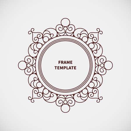 Vector decorative line art frame for design template. Elegant element for logo design, place for text. Black outline floral border. Lace illustration for invitations and greeting cards. Stock Vector - 40403207