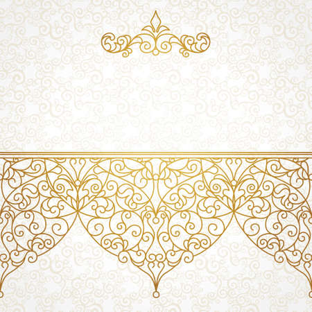 eastern religion: Vector ornate seamless border in Eastern style. Line art element for design, place for text. Ornamental vintage frame for wedding invitations and greeting cards. Traditional gold decor. Illustration