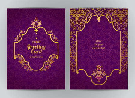 antique frames: Vintage ornate cards in oriental style. Golden Eastern floral decor. Template vintage frame for greeting card and wedding invitation. Ornate vector border and place for your text.