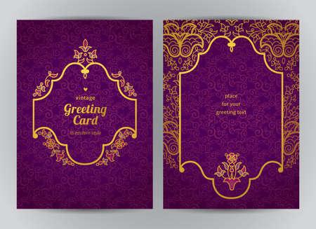 grabado antiguo: Vintage tarjetas adornadas en estilo oriental. Decoración floral oriental de oro. Marco de la vendimia del modelo para la tarjeta de felicitación y la invitación de la boda. Vector de la frontera adornado y lugar para el texto.