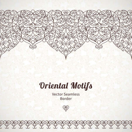 Vector ornate seamless border in Eastern style. Line art element for design, place for text. Ornamental vintage frame for wedding invitations and greeting cards. Traditional black decor. 向量圖像