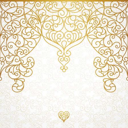 ベクトル東スタイルで華やかなシームレスな境界線。デザイン、テキストのための場所のライン アート要素です。結婚式の招待状やグリーティング   イラスト・ベクター素材