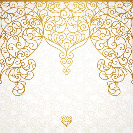 TRADITIONAL PATTERN: Vector ornate seamless border in Eastern style. Line art element for design, place for text. Ornamental vintage pattern for wedding invitations and greeting cards. Traditional gold decor.