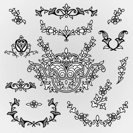 scroll work: Vector vintage line art vignettes in Eastern style on scroll work background. Ornate element for design. Place for text. Ornamental pattern for invitations, greeting cards. Traditional outline decor.