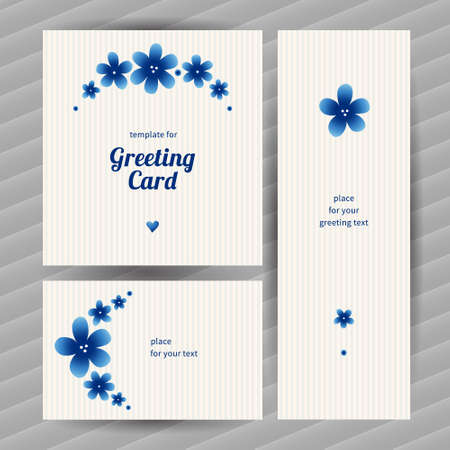 simple flower: Bright floral card with simple flowers. Blue vintage illustration. Decorative element for design, place for text. Template frame for greeting card and wedding invitation. Illustration