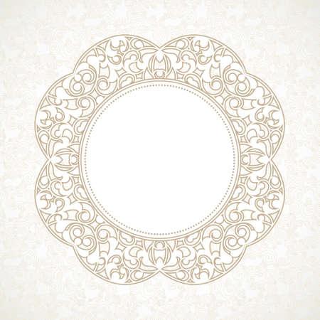 arabesco: Vector línea decorativa marco del arte de la plantilla de diseño. Elemento para el diseño elegante de estilo oriental, el lugar de texto. Esbozo Beige frontera floral. Ilustración de encaje para las invitaciones y tarjetas de felicitación.