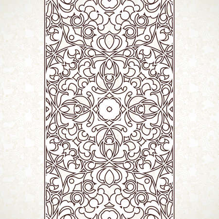 motives: Vector ornate seamless border in Eastern style. Line art element for design, place for text. Ornamental vintage frame for wedding invitations and greeting cards. Traditional outline decor. Illustration