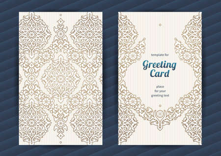vector greeting card: Vintage ornate cards in oriental style. Beige Eastern floral decor. Template vintage frame for greeting card and wedding invitation. Ornate vector border and place for your text. Illustration