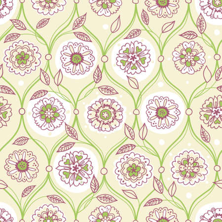 wallpaper floral: Vector seamless pattern, filigree floral background. Vintage element for design in Eastern style. Ornamental spring tracery. Ornate decor for wallpaper. Endless texture. Delicate pattern fill. Illustration