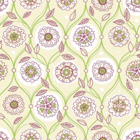 vintage element: Vector seamless pattern, filigree floral background. Vintage element for design in Eastern style. Ornamental spring tracery. Ornate decor for wallpaper. Endless texture. Delicate pattern fill. Illustration