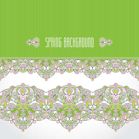 arab spring: Vector vintage seamless border in Eastern style. Spring elegant element for design. Floral illustration for wedding invitations, greeting cards, Valentines cards, Easter decoration. Traditional decor.