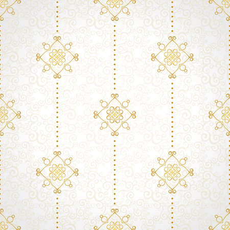 filigree background: Fine seamless vector pattern with ornate decor. Golden line art decor on light background. Exquisite wallpaper in Eastern style, vintage backdrop, ornate texture. Filigree romantic pattern fill.