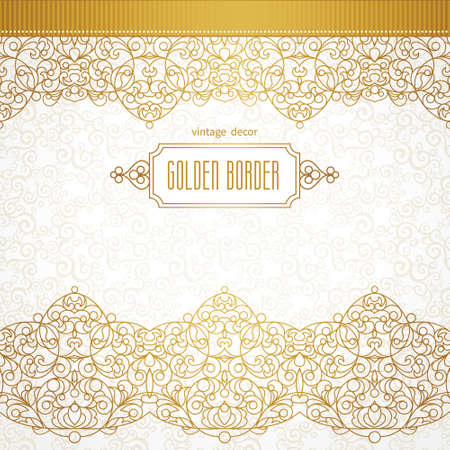 brocade: Vector ornate seamless border in Eastern style. Line art element for design, place for text. Ornamental vintage frame for wedding invitations and greeting cards. Traditional golden decor.