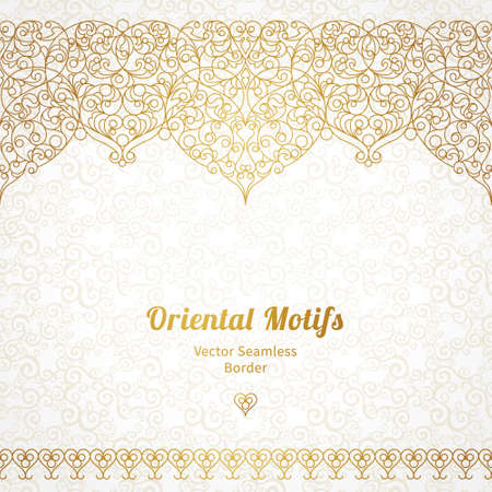 oriental: Vector ornate seamless border in Eastern style. Line art element for design, place for text. Ornamental vintage frame for wedding invitations and greeting cards. Traditional gold decor. Illustration