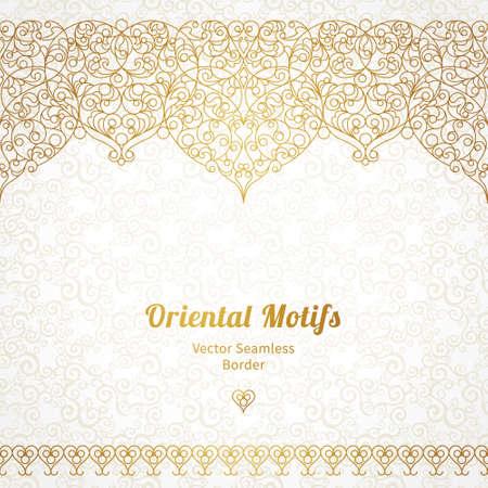 floral: Vector verzierten nahtlose Grenze in Ost-Stil. Line art Element für Design, Platz für Text. Ornamental Vintage-Rahmen für Hochzeitseinladungen und Grußkarten. Traditionelle Golddekor.