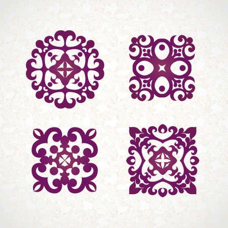 antik: Set von Vektor-Monogramm für raffiniertes Design-Vorlage. Elegant element für Logo-Design, Platz für Text. Ornamentale Muster für Hochzeitseinladungen und Grußkarten. Traditionelle Weinlese-Blumendekor.