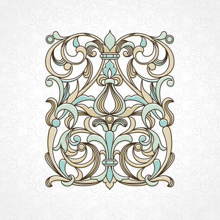 scroll design: Vector floral pattern in Victorian style on scroll work background. Ornate element for design. Ornamental vintage illustration for wedding invitations, greeting cards. Traditional outline decor. Illustration