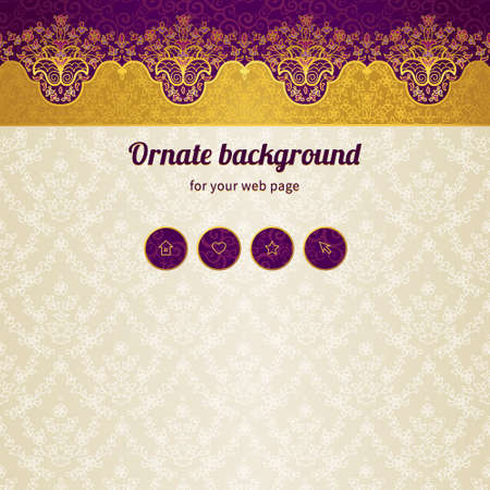 scroll tracery: Vector ornate seamless border in Eastern style. Web page design template, web site design. Golden floral element, place for text. Easy to use, layered. Ornamental vintage frame. Traditional decor.