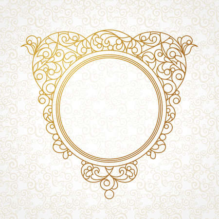 decorative line: Vector decorative line art frame for design template. Elegant element for design in Eastern style, place for text. Golden outline floral border. Lace illustration for invitations and greeting cards.