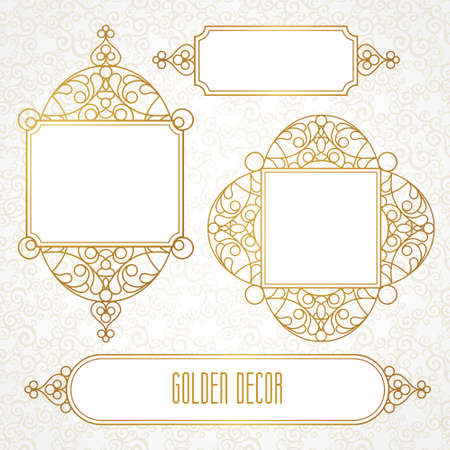 invitation frame: Vector decorative line art frames for design template. Elegant element for design in Eastern style, place for text. Golden outline floral border. Lace illustration for invitations and greeting cards. Illustration