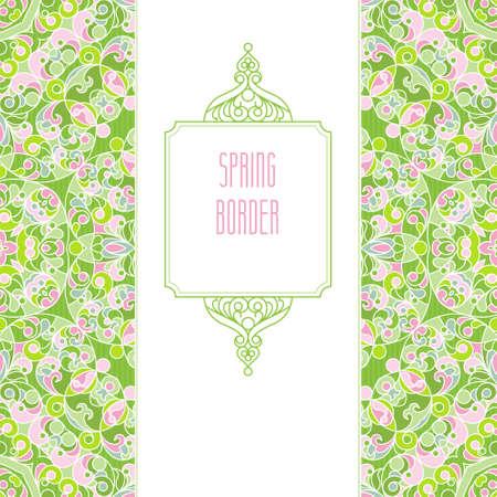 scroll work: Vector vintage seamless border in Eastern style. Spring elegant element for design. Floral illustration for wedding invitations, greeting cards, Valentines cards, Easter decoration. Traditional decor.