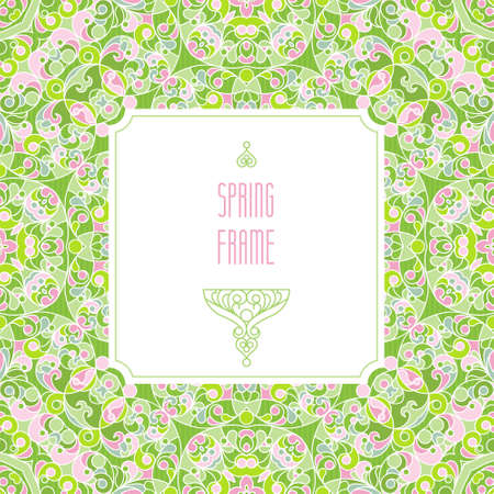 vintage borders: Vector vintage frame in Eastern style. Spring elegant element for design. Floral illustration for wedding invitations, greeting cards, Valentines cards, Easter decoration. Traditional pastel decor.