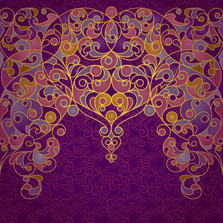 eastern religion: Vector ornate seamless border in Eastern style. Deluxe element for design, place for text. Ornamental vintage frame for wedding invitations, greeting cards. Traditional gold decor on purple backdrop.