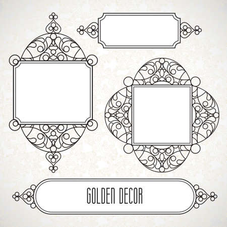decorative element: Vector decorative line art frames for design template. Elegant element for design in Eastern style, place for text. Black outline floral border. Lace illustration for invitations and greeting cards.